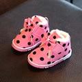 Niños Botas de Invierno Cálido Zapatos de Los Bebés Lindos Del Bowknot Polka Dot Print Infants Toddlers Primer Caminante Zapatos Niños Botines