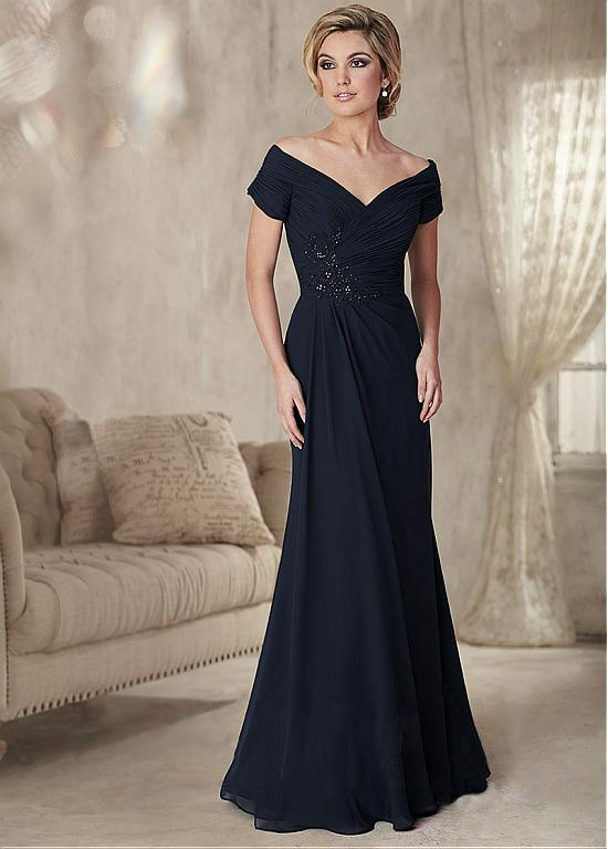 Black Chiffon V Neck Cap Sleeve A line Cheap Mother of the bride dresses Plus Size