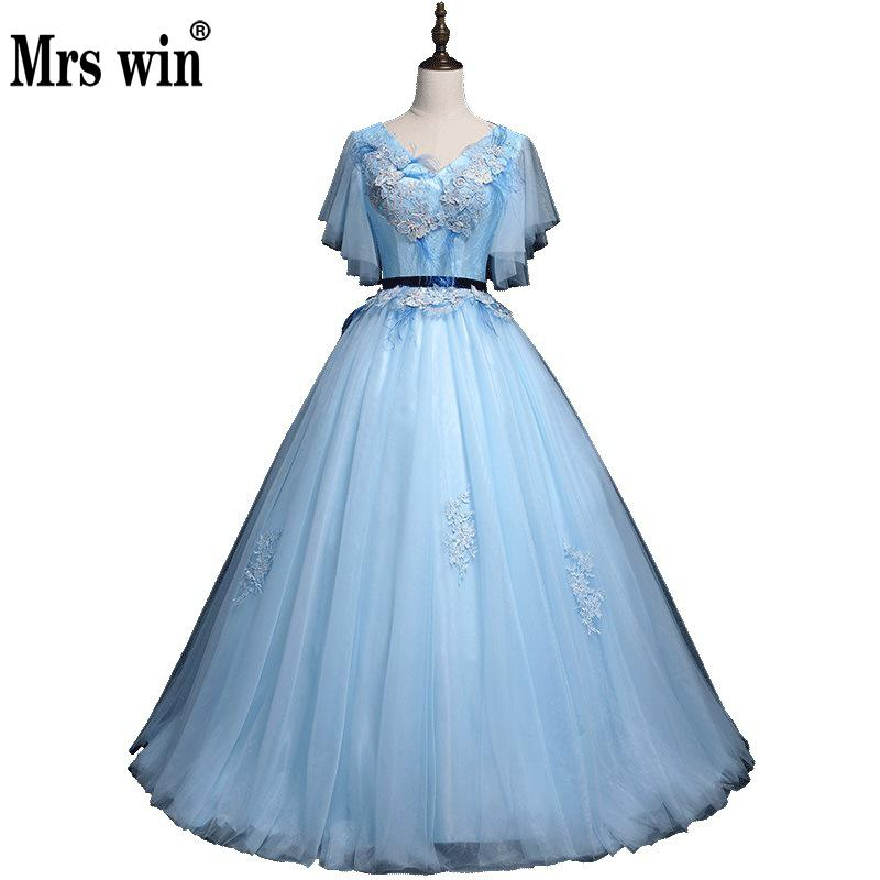 Quinceanera Dress 2018 New Mrs Win Short Sleeve Sexy V-neck Contrast Color Quinceanera Dresses Vestidos De 15 Anos Vestido Longo