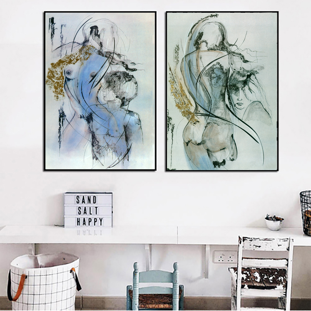 Abstract Art Prints On Canvas 2pcs Abstract Art Canvas Painting Sexy Girl Pictures Two Colors Wall Art Prints For Living Room Abstract Wall Pictures Unframed