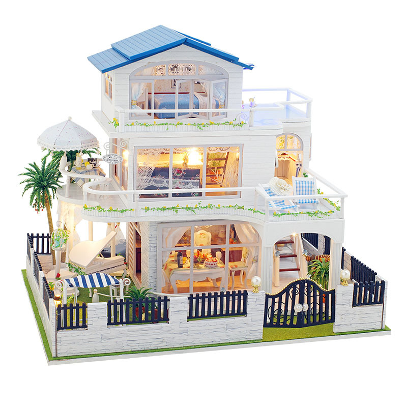 3d Diy Blue Villa With Swimming Pool Wooden Big Doll House Furniture Toy Model Doll House