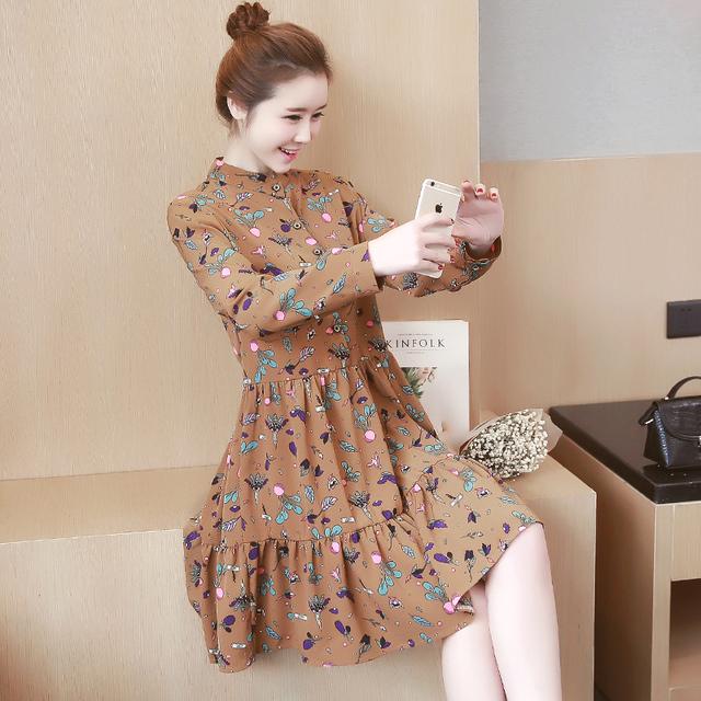 2017 primavera estilo coreano impresso plus size mulheres grávidas vestido de manga comprida vestido floral + vestido twinset blusas camisas