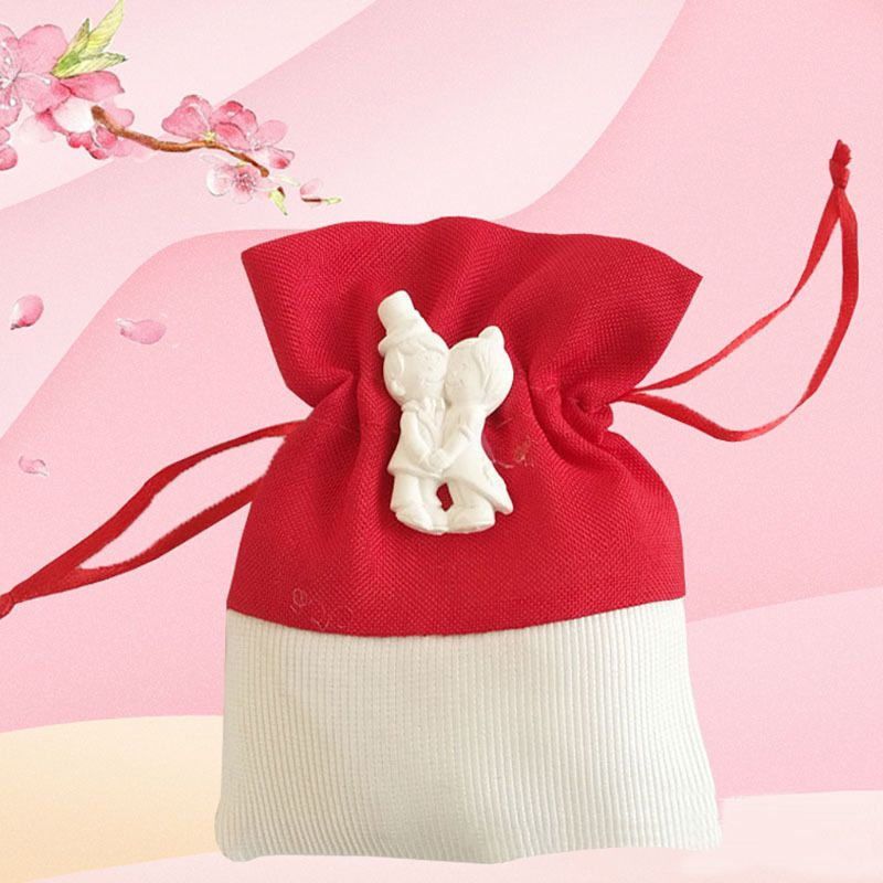 Small Red White Pouch Bundle Cloth Drawstring Bag For Packing Candy Jewelry Sachet Wedding Gift in Gift Bags Wrapping Supplies from Home Garden