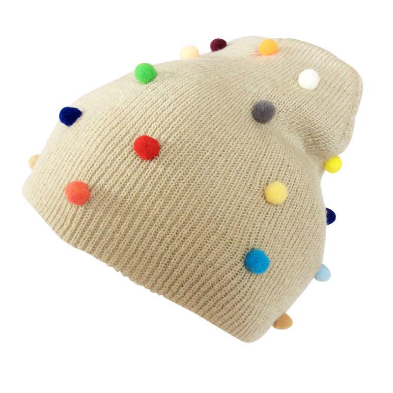 หมวกเด็กโครเชต์ Pompom หมวกสำหรับสาวหมวกฤดูหนาวหมวกเด็กหมวกเด็กหมวก