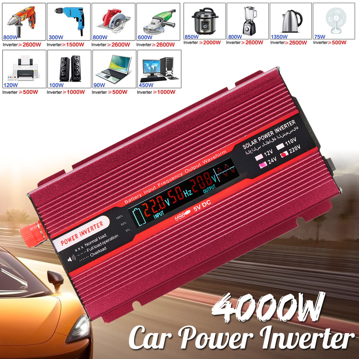 Voltage Transformer Car Power Inverter 12/24V To AC 220/110V PEAK 4000W USB Modified Sine Wave Converter Low Noise Aluminum