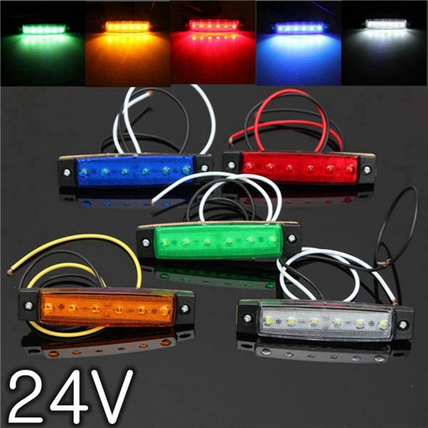 1Pcs 24V 6 SMD LED Car Bus Truck Trailer Lorry Side Marker Indicator Light Side Lamp Red Blue Yellow Green White 10pcs 6 led red white green blue yellow amber clearence car truck bus lorry trailer side marker indicators light lamp 12v 24v