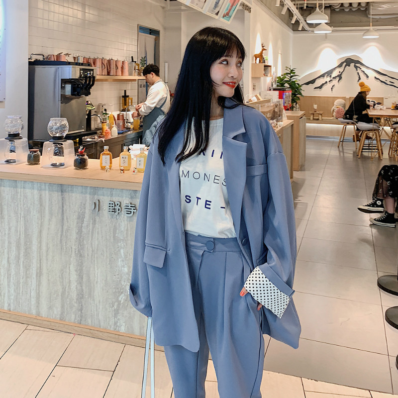 Set Female Pants Suit 2019 New Small Suit Korean Version Of The Large Size Loose Casual Suit Jacket Slim Nine Pants Two Sets