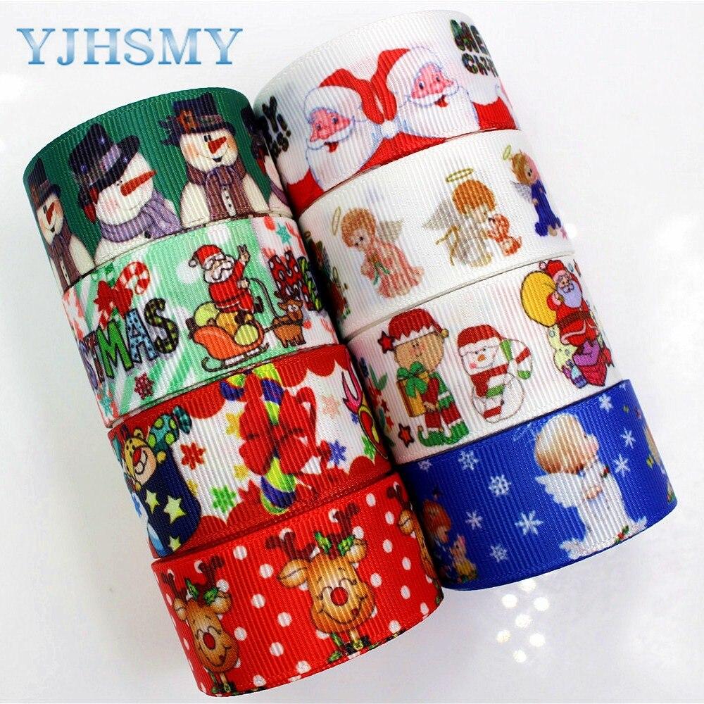 Yjhsmy, 177202 25 мм 10 двор Рождество ленты печать теплообмена сетки Свадебные аксессуары DIY материалы ручной работы