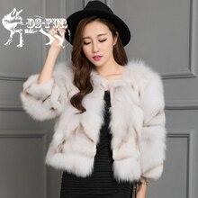 New 2017 Grace Winter Genuine Blue Fox Fur Coats Feminino Slim Fur Jacket Ladies Warm Solid Coat Women Short Striped Coat Girls