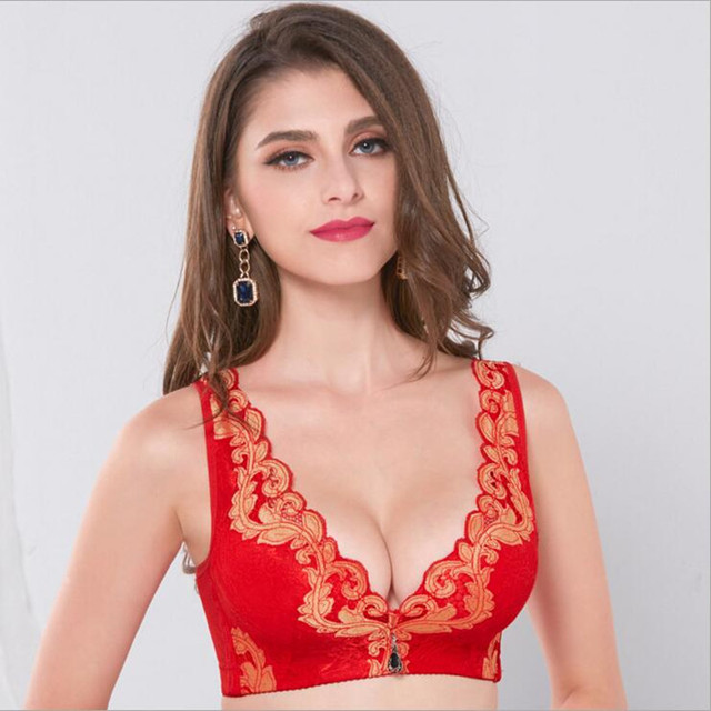 07bcaf7f35a14 Sexy Unpadded Wire Free Bright Red Bras Embroidery Floral Black Lace  Bralette Women Adjustable Strap Lingerie Crop Top Push Up