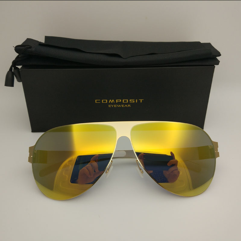 2018 New Composit Brand Beach Vacation Sun Glasses Fashion Women Gold Retro Sports Goggle Stainless Steel Men Vintage Sunglasses