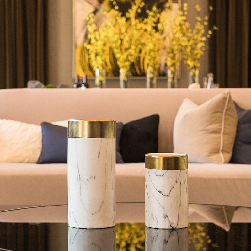 Scandinavian Living Room Flower Arrangement Ceramic Marble Vase Dry flower European Soft Adornment Tabletop Marble Ceramic Vase