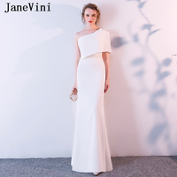 JaneVini White Long Bridesmaid Dresses Mermaid One Shoulder Satin Floor Length Simple African Women Formal Prom Gowns Plus Size
