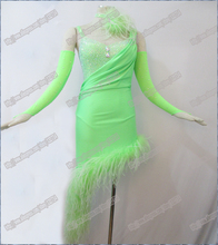 AWSOME GREEN Latin dance dress,ballroomdress dance wear DMC stones latin salsa tango competition dance dress Real feather B-0076