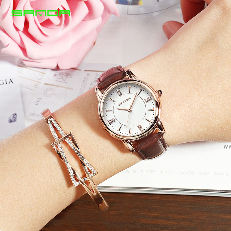 SANDA New Ladies Watch Women Leather Quartz Wrist Watches Business Fashion Clock Gift for Girls Female Bracelet orologio donna splendid brand new boys girls students time clock electronic digital lcd wrist sport watch