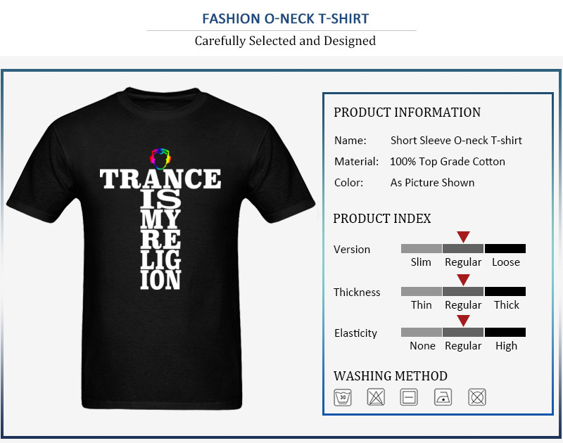 Trance Is My Religion Round Collar T Shirts Labor Day Personalized Tops Tees Short Sleeve Designer Cotton Fabric Tee-Shirts Men Trance Is My Religion