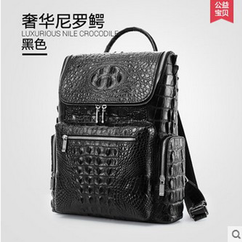 gete new crocodile backpack large capacity real leather institute of European and American fashion luxury wind men's backpack new york institute of photography