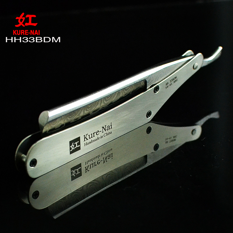 "1 X ""KURE-NAI"" HH33BDM, SHAVE READY Stainless Steel Handle DAMASCUS POLIC Blads Folding Shaving Razor Single Blade"