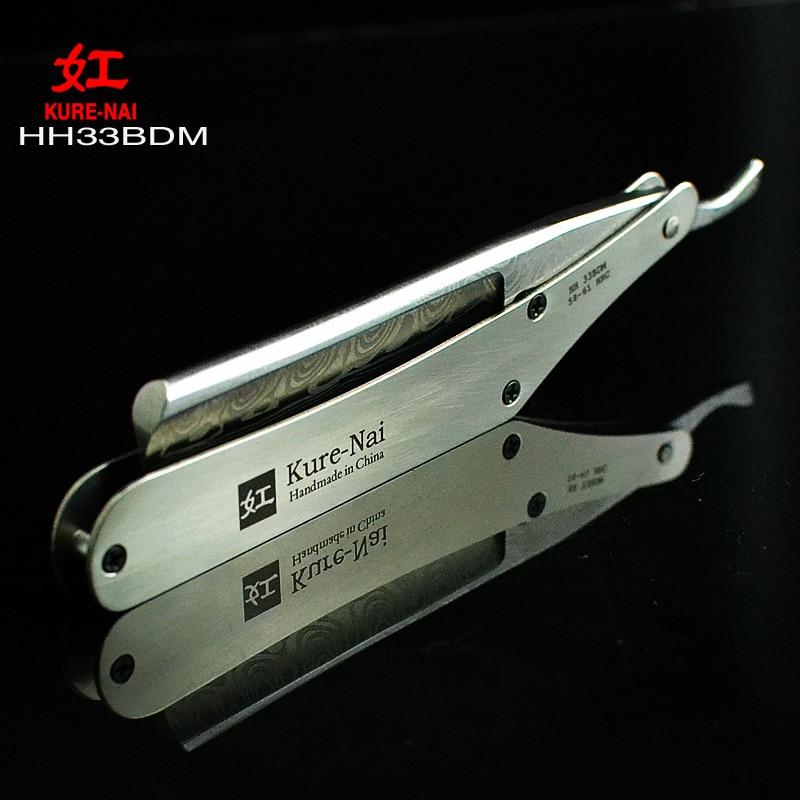 "1 X ""KURE-NAI"" HH33BDM, SHAVE READY Rustfrit stål Håndtag DAMASCUS PATTERN Blads Folding Barbering Razor Single Blade"