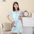Hot Sale Chinese Women Faux Silk Robe Bath Gown Summer Lounge Home Dress Print Sleepwear Sexy Nightgown Flower Plus Size WC095