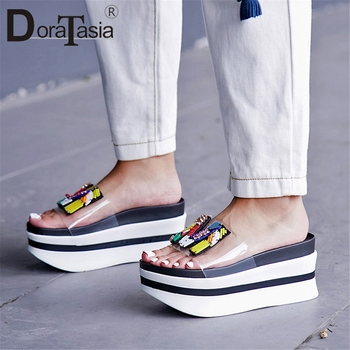 DORATASIA 2019 New Summer Girl Thick Platform Slides Women Fashion Transparent PVC Slippers Casual Wedges Shoes Woman