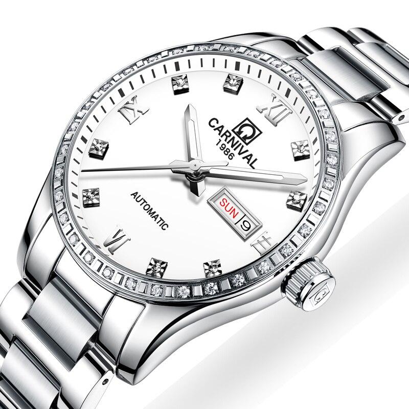 Карнавал часы Для мужчин автоматические механические Элитный бренд часы Для мужчин световой сапфир reloj hombre Водонепроницаемый Для мужчин s ч...