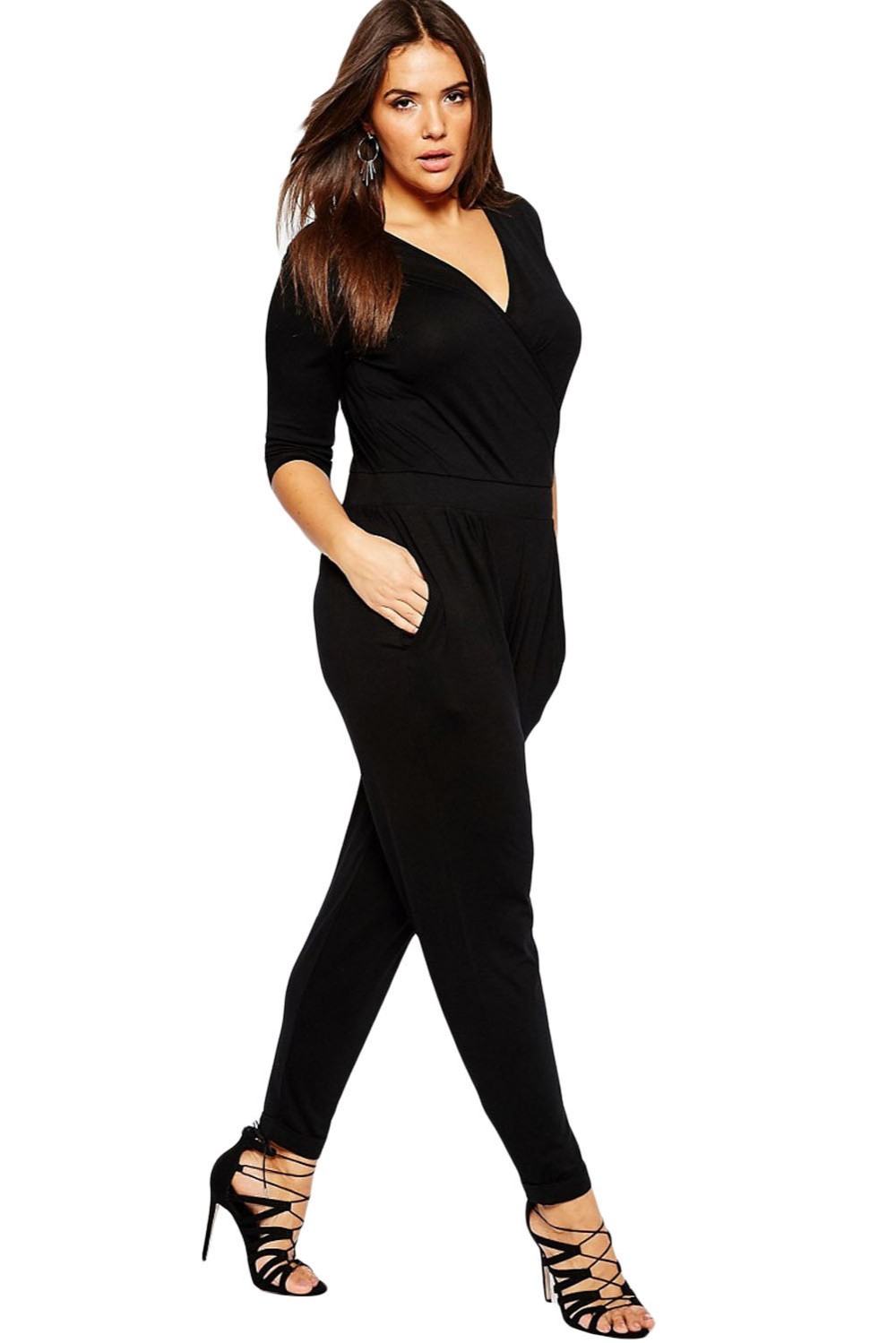 Black-Plus-Size-Wrap-V-Neck-Jumpsuit-LC64206-2-2