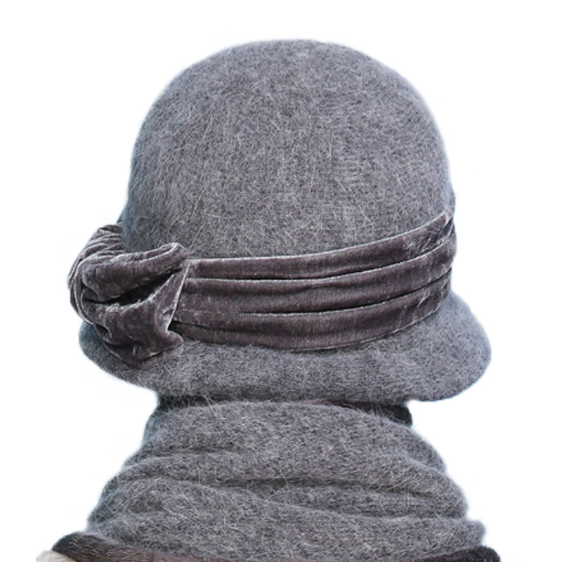 Image 3 - FS Women Wool Rabbit Fur Knitted Fedora Hat Fashion Vintage Wide Brim Female Winter Hats Neck Warmer Cap With Scarf-in Women's Fedoras from Apparel Accessories
