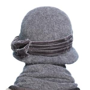 Image 3 - FS נשים צמר ארנב פרווה סרוג פדורה כובע אופנה בציר רחב ברים נקבה חורף כובעי צוואר חם כובע עם צעיף