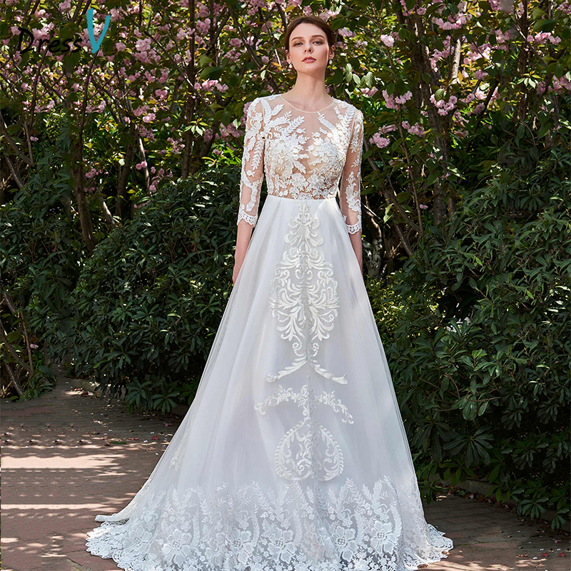 Luxury Tulle Three Quarter Sleeve A Line Wedding Dress: Dressv Ivory Long Wedding Dress Three Quarter Sleeves