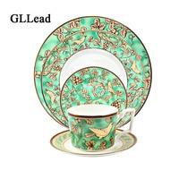 GLLead Western style Ceramic Dinnerware Dinner Service Coffee Tea Cup Porcelain Tableware Saucer Knife and Fork Spoon Set