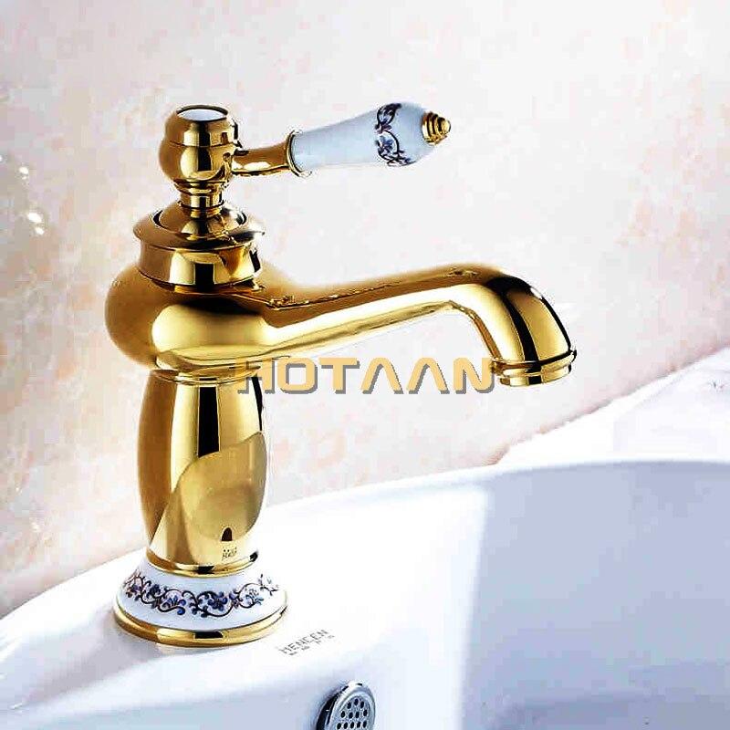 Роскошный смеситель для раковины, современный кран для ванной комнаты с золотым покрытием, латунный Смеситель для раковины с одной ручкой, ...