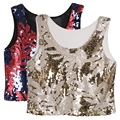 Women Ethinic Boho Tank Tops Vest Crop Top Shirt Sequin Beach Wear Cami