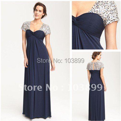 Euro Type Square Neck Dark Navy Chiffon Long Mother of Groom Dresses 2014 Formal