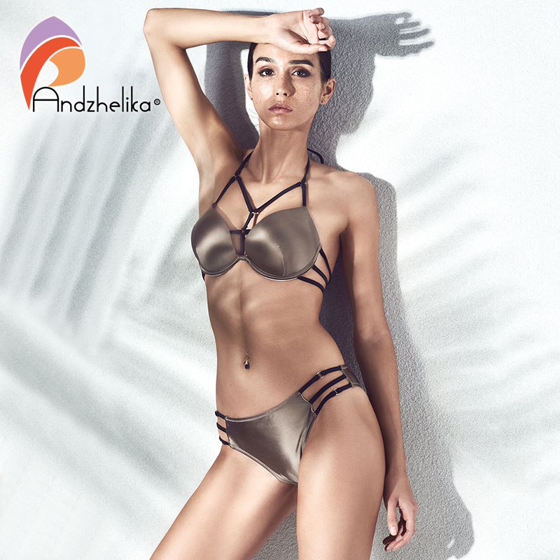 Anadzhelia Bikini 2018 di Estate Nuovo Sexy della Fasciatura del Bikini Set Push Up Costume Da Bagno Brasiliano Spiaggia Tre Pezzi Costume Da Bagno S-XL AK1006
