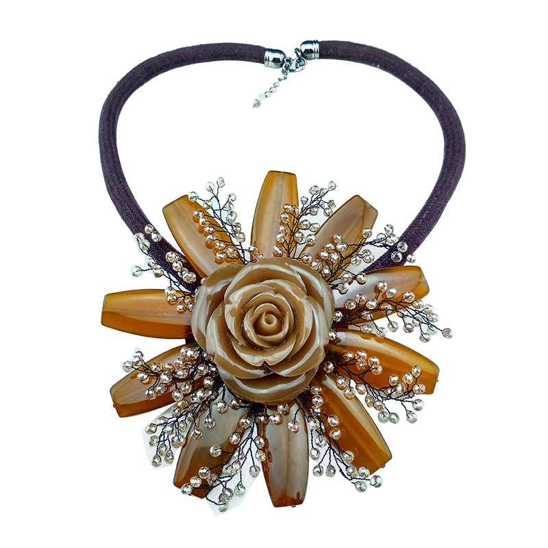 Hyperbole style filles pendentif collier agates cristal résine fleur pendentif original fait main femme accessoires quotidien bijoux
