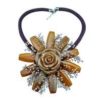 Hyperbole style girls pendant necklace agates crystal resin flower pendant original handmade woman accessories daily jewlry