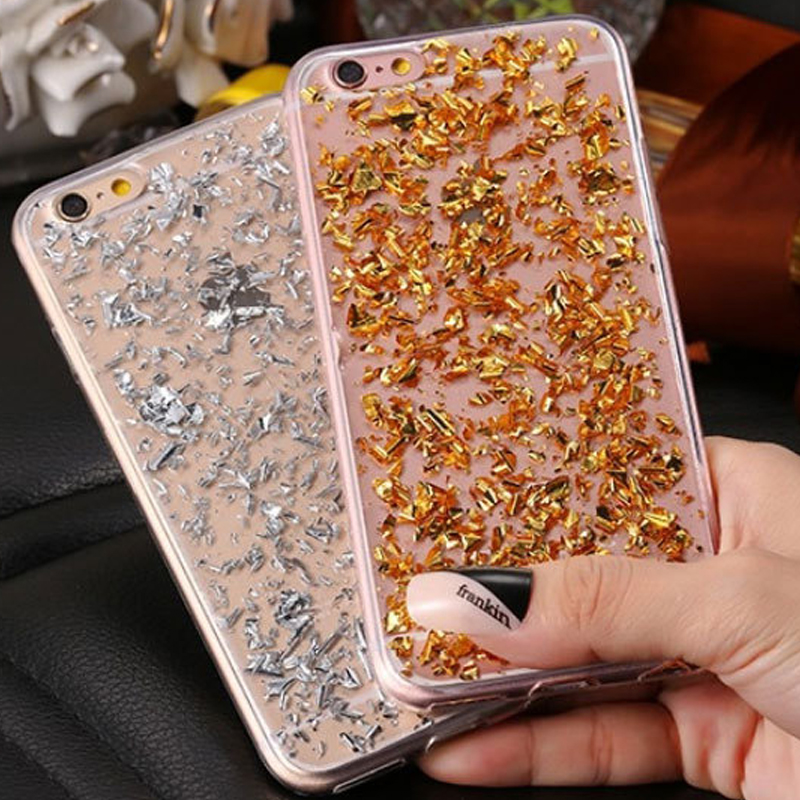 Bling Bling Clear Gold Foil Paillette Sequin Cover Silicone Soft Back Phone Case For iPhone 5 5S SE 6S 6 Plus 7 7Plus TPU Bumper