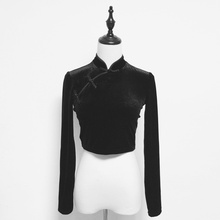 Punk Dark Velvet Tang Long Sleeve Top Traditional Chinese Clothing for Women Black Women Clothes 2020 Chinese Style
