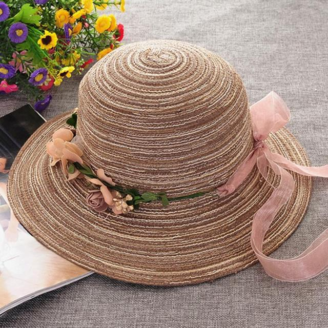 eb26be06d5aee LOVIW Fashionable Women s Ladies Brim Summer Beach Sun Hat Cotton linen  Elegant Flower Cap