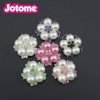 100pcs/lot DHL for free shipping 20mm white pearl & black crystal rhinestone button