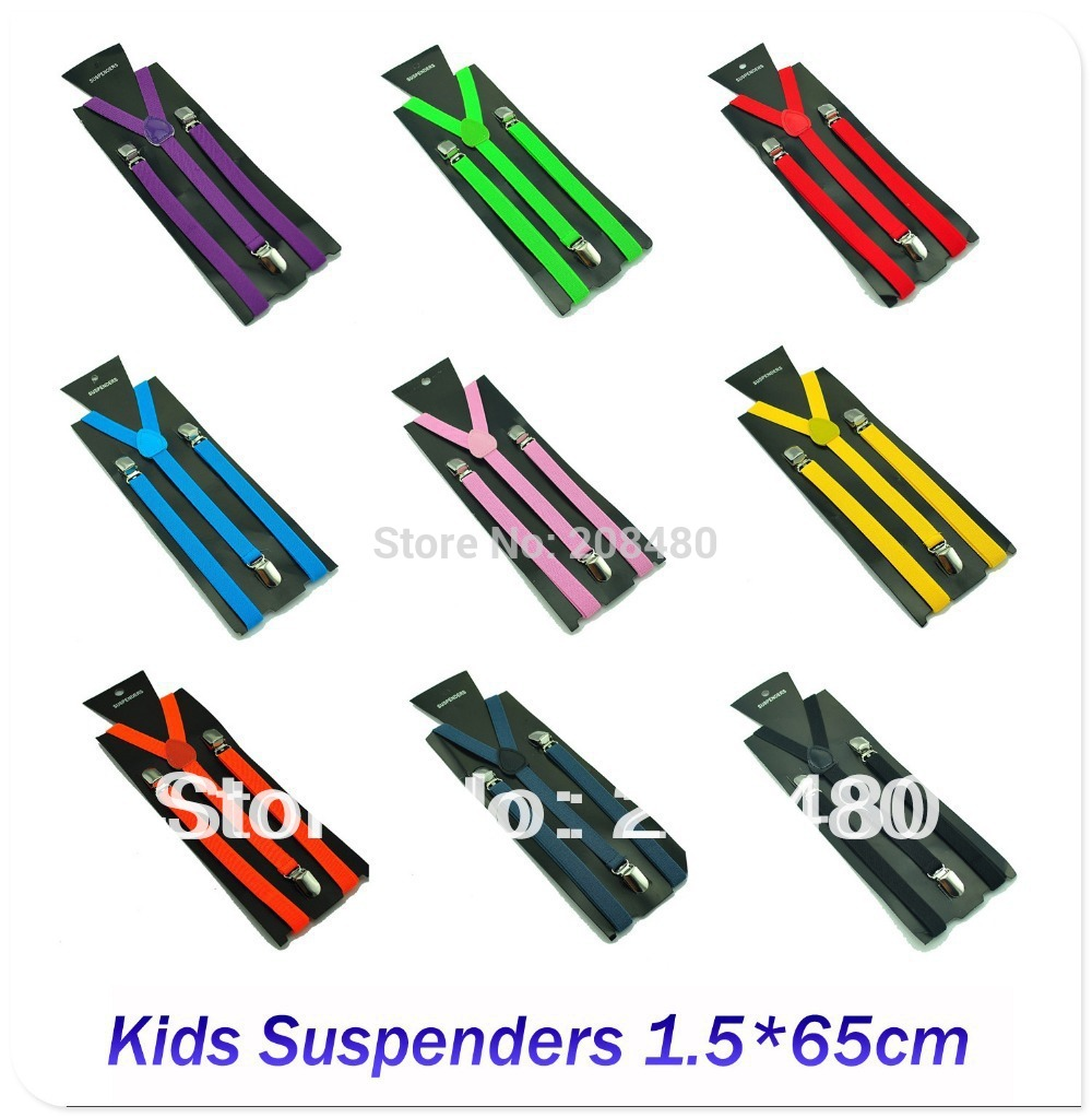 Penghantaran percuma-1.5x65cm Suspender KANAK-KANAK BOYS / GIRLS Suspender Braces Braces Suspender Slim 22colors campuran Y-back Suspender / gallus