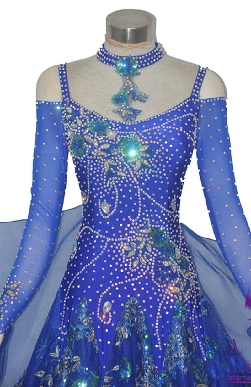 Mujeres Salón danza vestido azul real profesión por encargo vals ...
