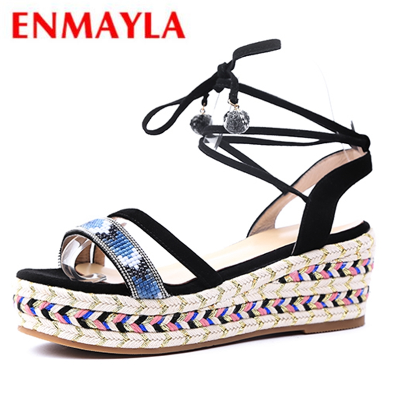 ENMAYLA  Gladiator  Casual  Lace-Up  Woman Sandals 2019 Summer Wedges Shoes for Women  Shoes Woman Sandals Size 34-39 LY1172ENMAYLA  Gladiator  Casual  Lace-Up  Woman Sandals 2019 Summer Wedges Shoes for Women  Shoes Woman Sandals Size 34-39 LY1172