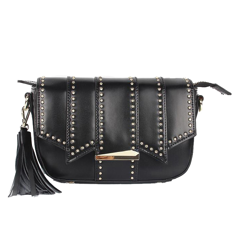 ФОТО 2017  European and American women solid color rivet flap bags New Design genuine leather messenger bag Hot lady crossbody bags