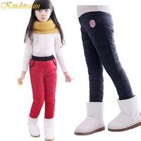 Wielka Wyprzedaż dziewczyny zima wiatroszczelne spodnie dziecięce ciepłe plus velvet & dół spodnie zagęścić projekt detal, C203