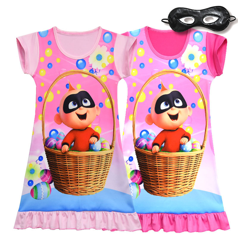 Girl Summer Cute Dress The Incredibles 2 Baby Jack Parr Cartoon Dresses Children Kids Pink Rose Color Out Wear Cosplay Costume