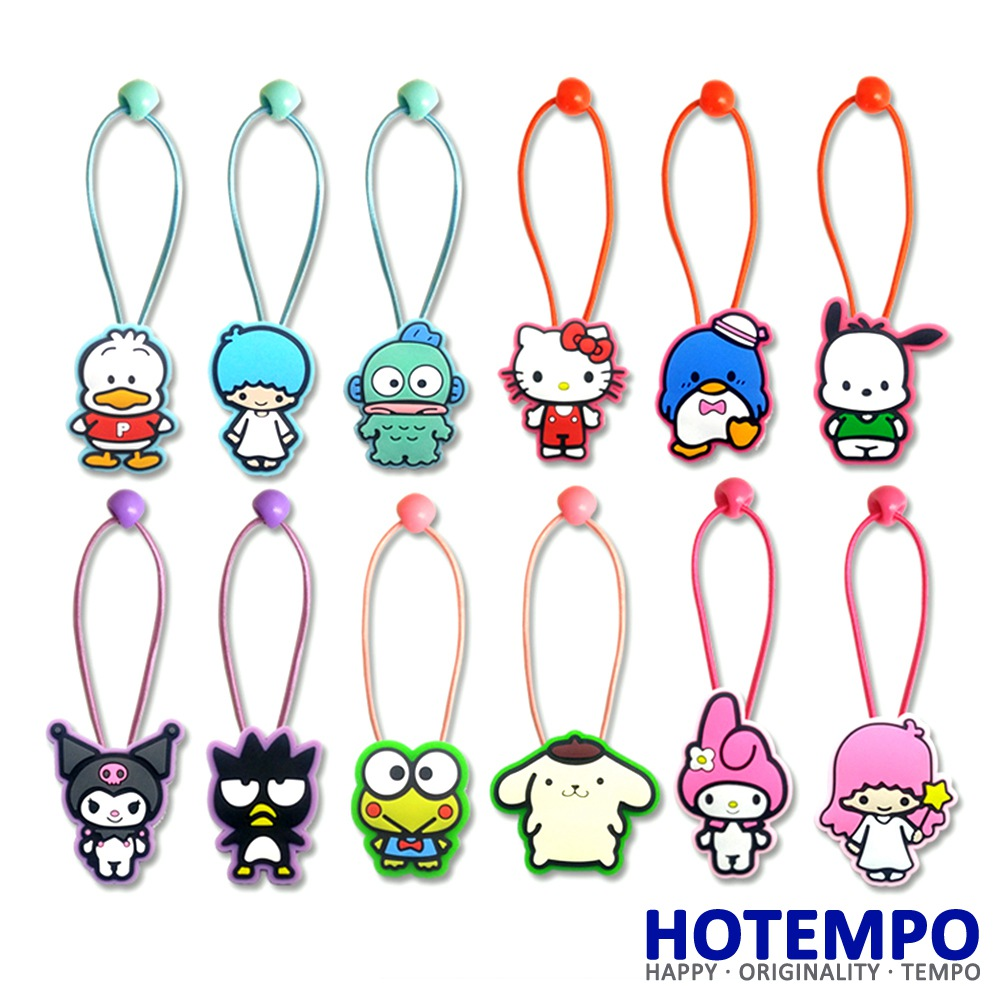 Japan Cartoon Sanrio twin XO Kuromi Melody kitty Keroppi Pekkle comics TSUM BB Hair rope Girls Hair band for Girls Gift punk style pure color hollow out ring for women