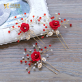 Gorgeous Red rhinestone hairpins women U hair sticks crystal flower headpiece bride fascinator Gifts wedding accessories nichen