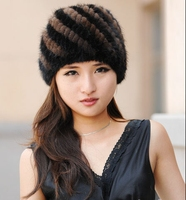 Women Winter Plus Size Striped Double deck Thick 100% Mink Fur Skullies Beanies Hats Lady Fall Warm Stretch Protection Ear Caps
